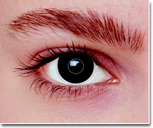 Schwarze Iris durch Cyborg Kontaktlinsen